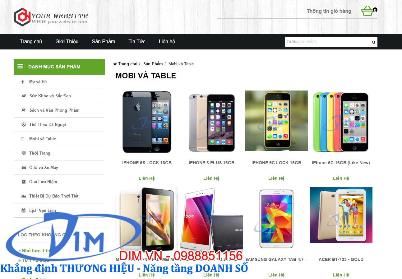 thiết kế website bán đồ điện tử