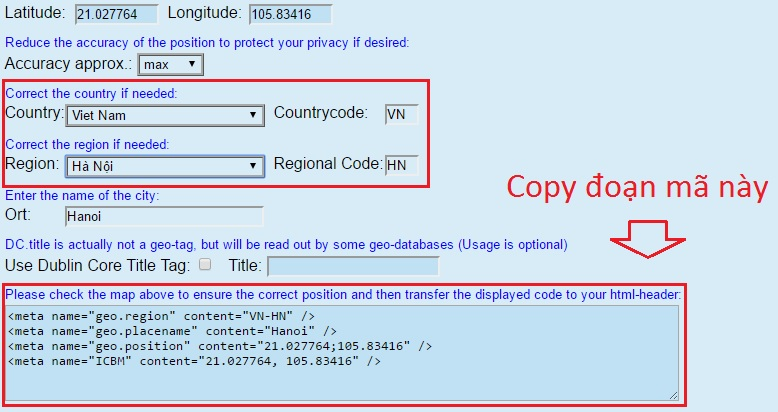 tạo geo meta tag cho web